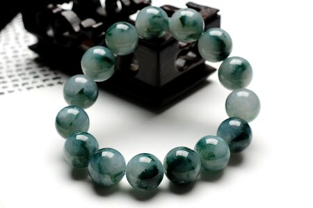 Bracelet Jade Blanc Vert Boucle